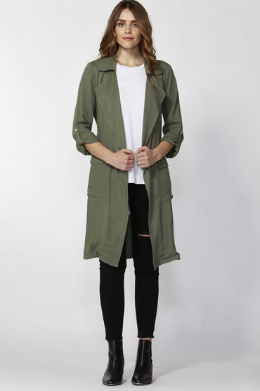 Sass Hailie Longline Trench Jacket in Sage Green Size 8 ONLY - Hey Sara