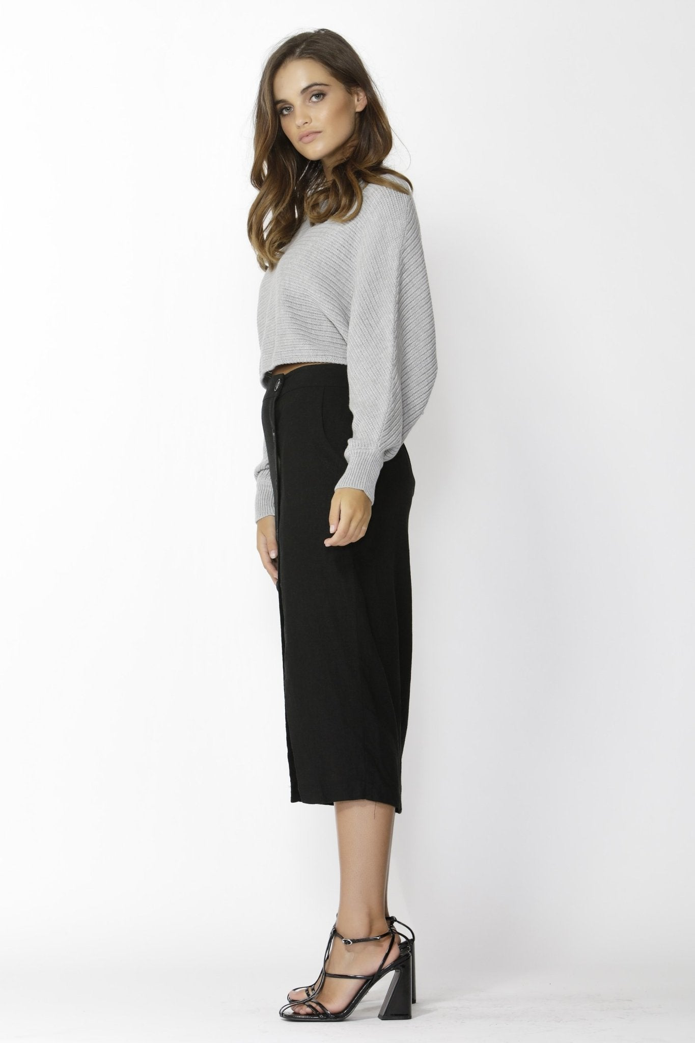 Sass Independence Cropped Knit in Grey Marle - Hey Sara