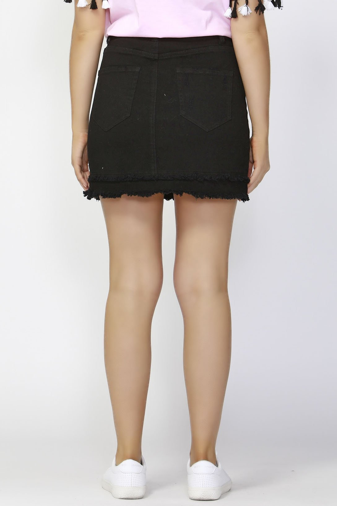 Sass Jetsetter Double Hem skirt in Black - Hey Sara