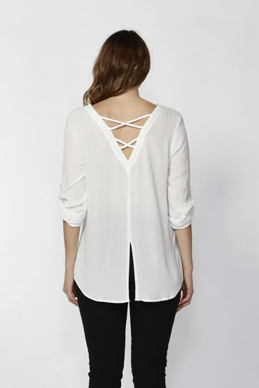 Sass Jetta Criss-Cross back Shirt in Pearl Size 12 and 14 ONLY - Hey Sara