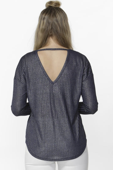 Sass Reanna Sparkle Top in Navy - Hey Sara