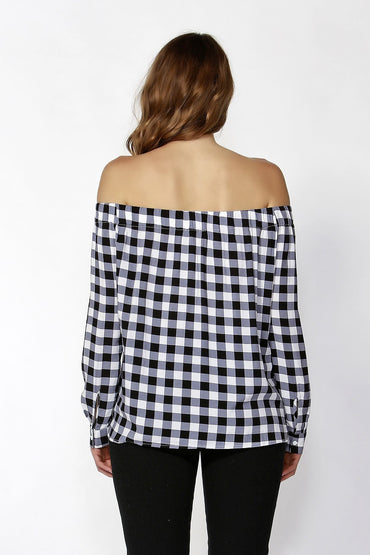 Sass Ricki Bow Front Open Shoulder Top in Black and White Check - Hey Sara