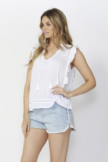 Sass Romance Reborn Lace Blouse in Cocount - Hey Sara