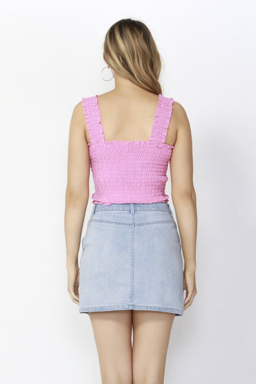 Sass Spring Break Shirred Crop Top in Hibiscus Pink - Hey Sara