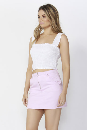 Sass Spring Break Shirred Crop Top in White - Hey Sara