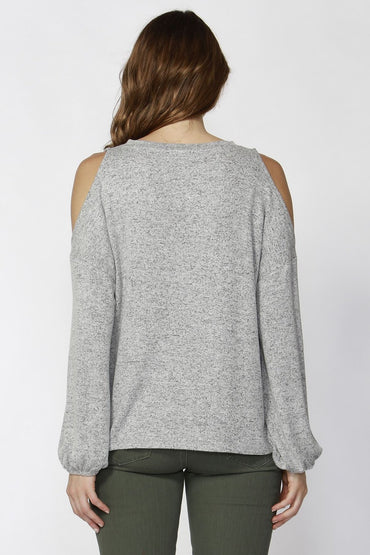 Sass Stela Bubble Sleeve Top in Grey Marle - Hey Sara