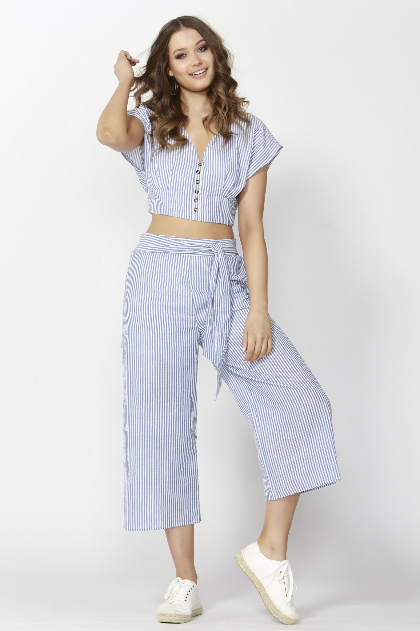 Sass Stripe Out Tie Pant - Blue / White Stripe - Hey Sara