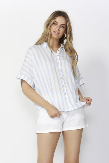 Sass Summertime Oversized Shirt in White with Sky Blue Stripe - Hey Sara