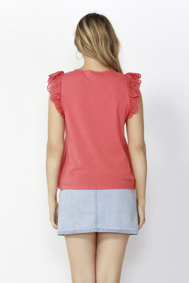 Sass Sweet Escape Lace Top in Watermelon - Hey Sara