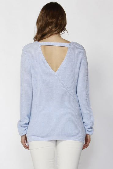 Sass Taraja Tie Sleeve Jumper in Whisper Blue - Hey Sara