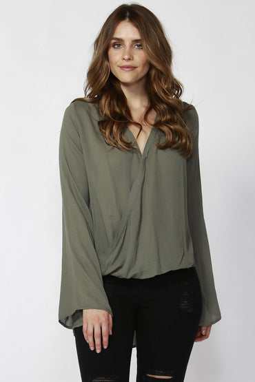 Sass Thea Wrap Blouse in Sage Green - Size 10 Only - Hey Sara