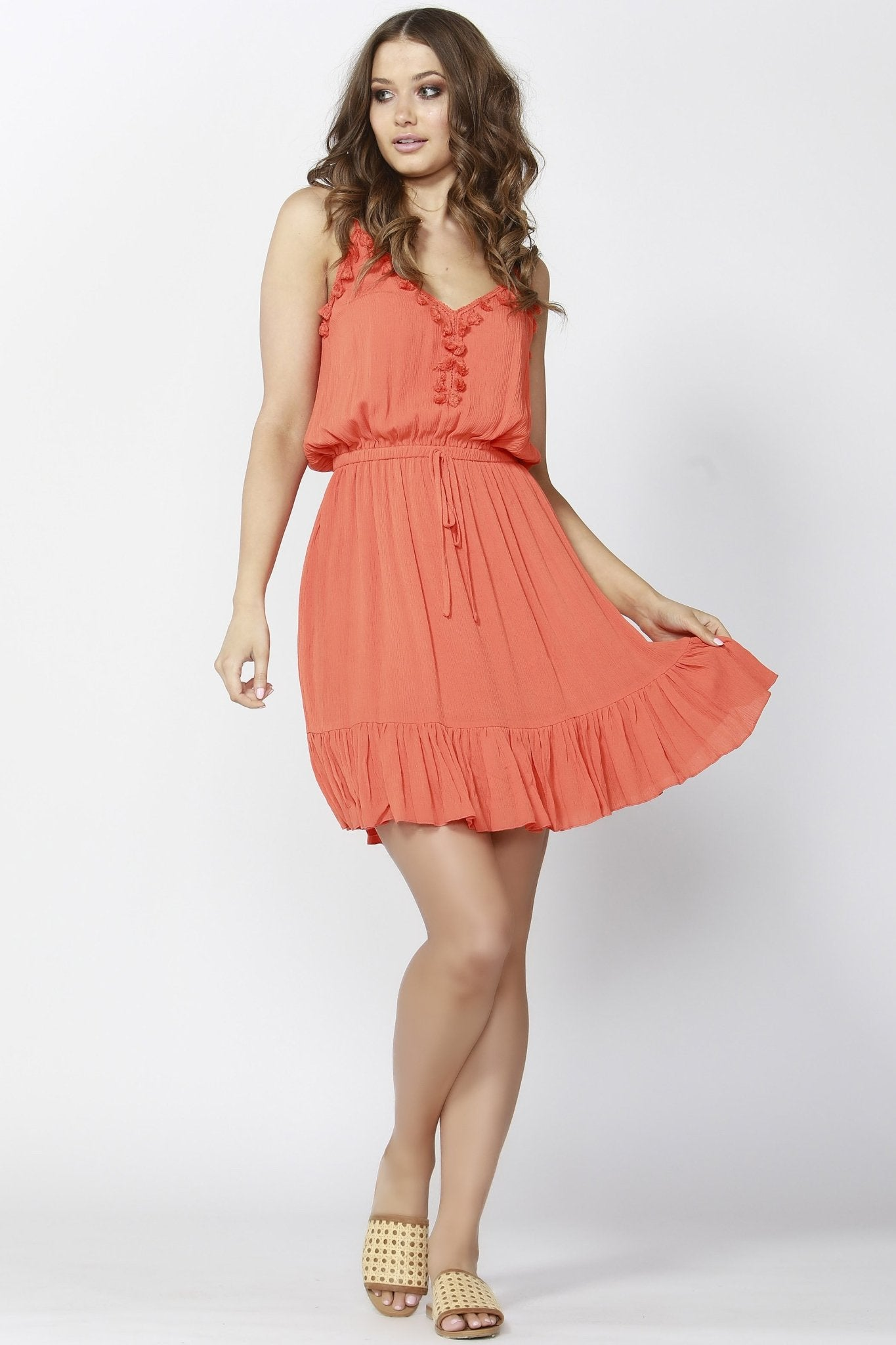 Sass Tongue Tied Tasseled Dress in Persimmon - Hey Sara