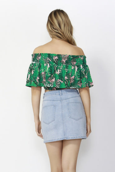 Sass Tropicana Cropped Blouse in Print - Hey Sara