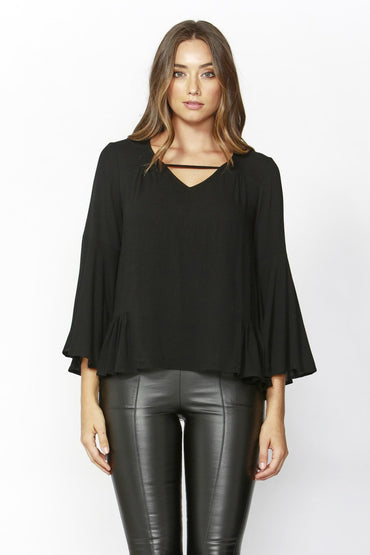 Sass True Love Bell Blouse in Black - Hey Sara