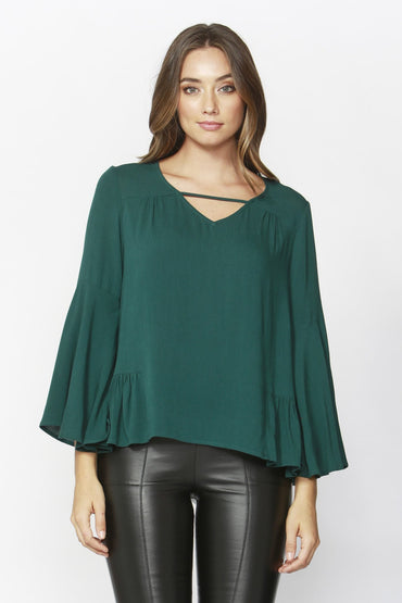 Sass True Love Bell Blouse in Jade Green - Hey Sara