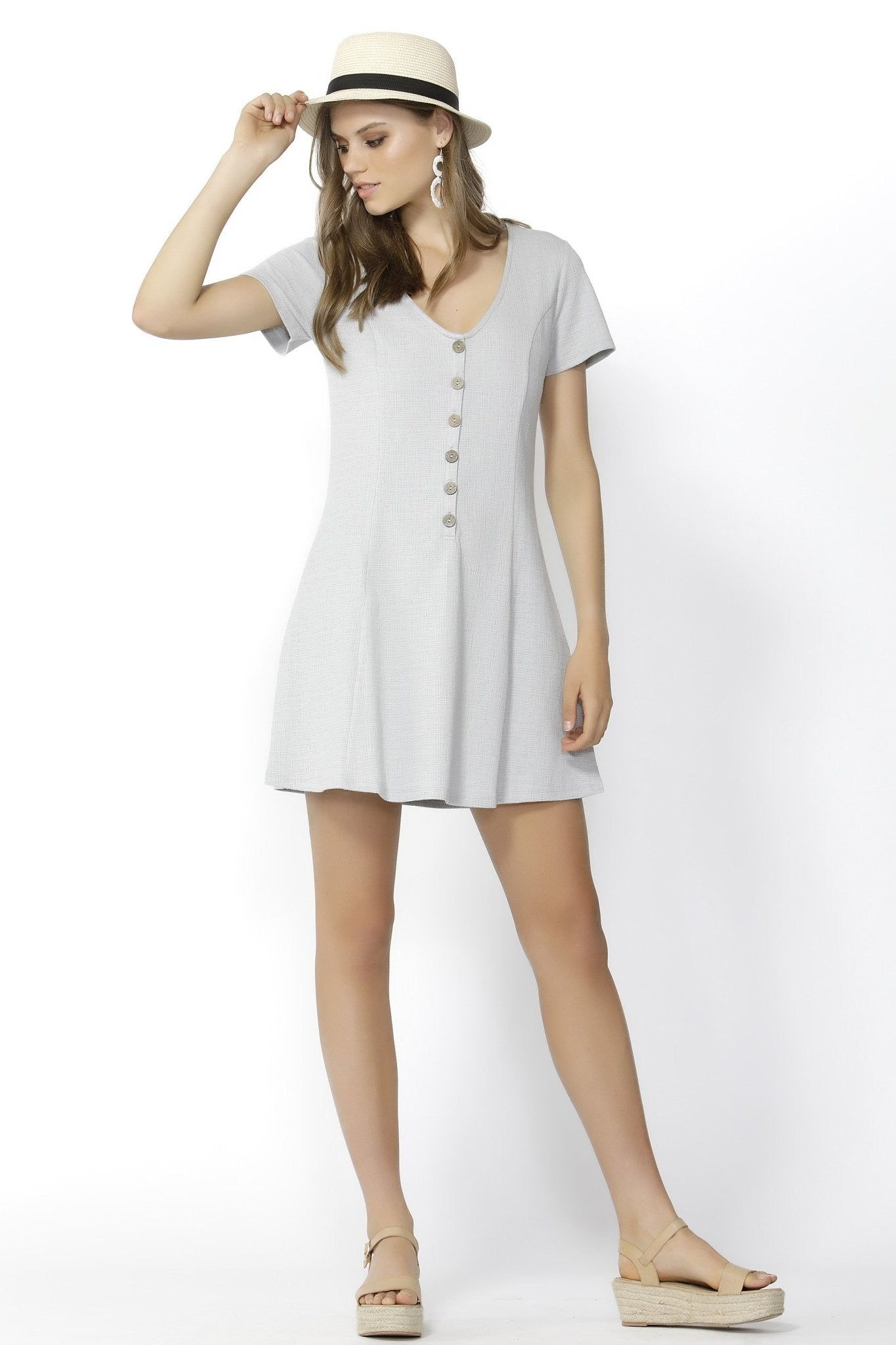 Sass Young At Heart Buttoned Dress in Silver Marle - Hey Sara