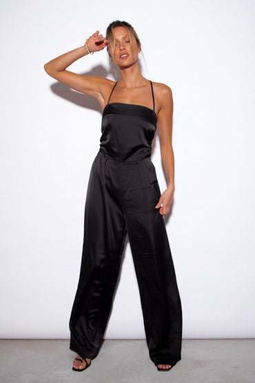 SNDYS Cabo Satin Wide Leg Jumpsuit in Black - Hey Sara