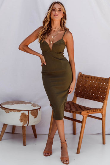SNDYS Cali Body-Con Midi Dress in Khaki - Hey Sara