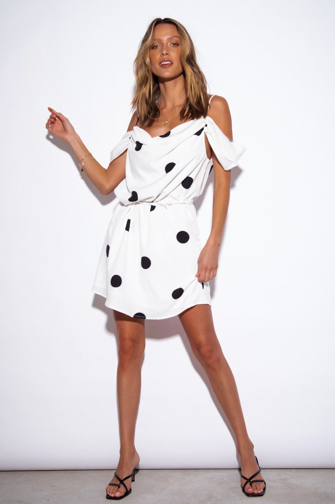 SNDYS Casablanca Dress in White Polkadot - Hey Sara