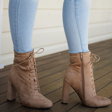 Therapy Aiken Lace Up Ankle Boot in Taupe Suede - Hey Sara