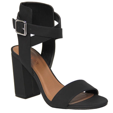 Therapy Collins Thick Strap Heel in Black Suede - Hey Sara