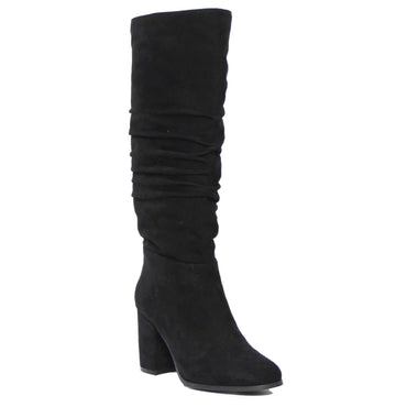 Therapy Staples Suede Full Boot with Heel and Ruched Calf in Black - Hey Sara