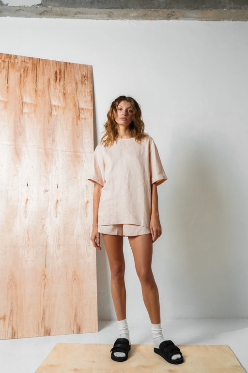 Oversized Linen Tshirt In Blush