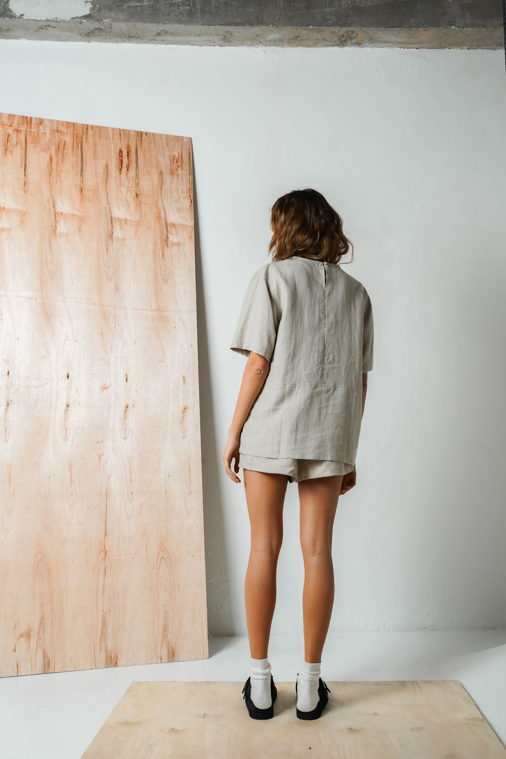 Oversized Linen Tshirt In Oatmeal
