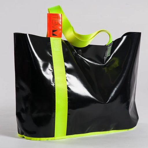 ITEMM BEACH BAG BLUE AND FLURO GREEN