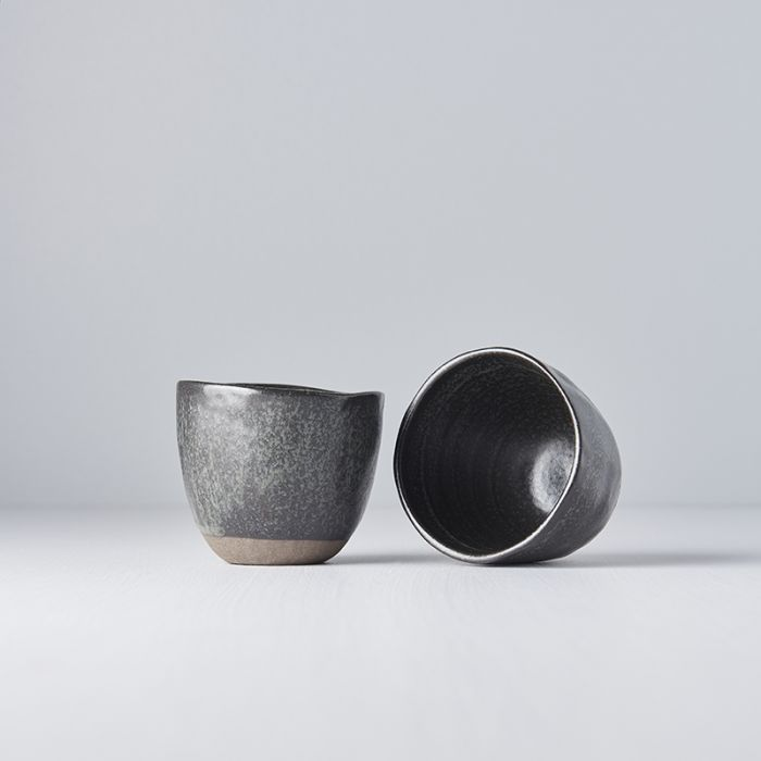 HANDMADE TEACUP BLACK AND BISQUE
