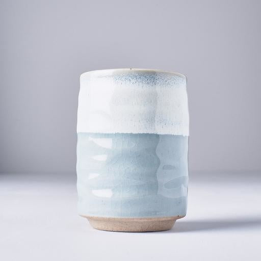 HANDMADE TEA MUG BLUE AND PALE BLUE