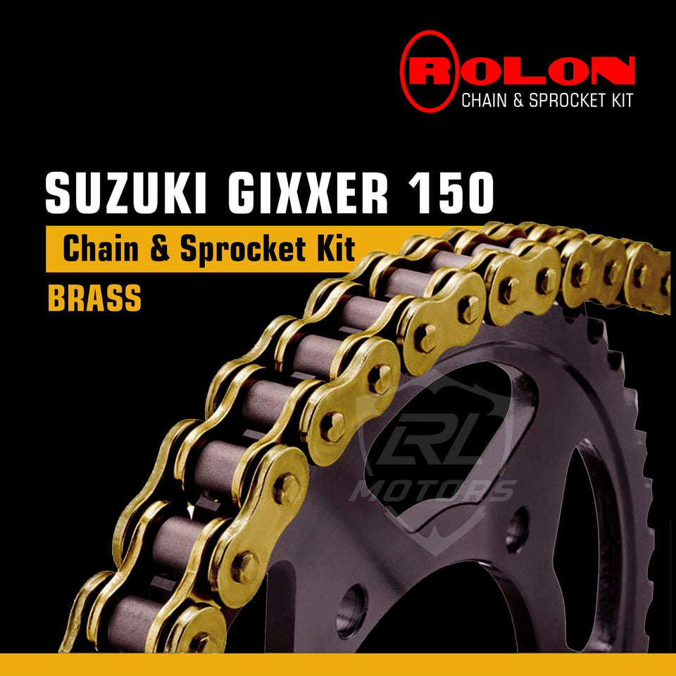 Gixxer GXR 150cc Rolon Brass chain & Sprocket Kit - LRL Motors