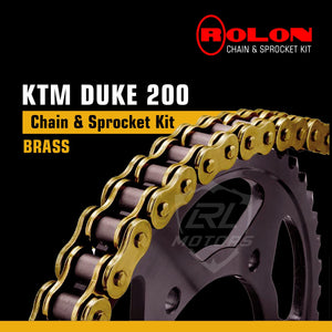 KTM 200 Duke/RC Brass Chain & Sprocket kit Rolon - LRL Motors