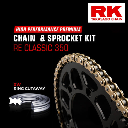 Royal Enfield Classic 350 Brass Chain Kit ( RK Japan) - LRL Motors