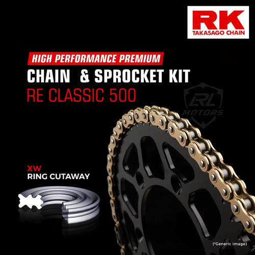 Royal Enfield Classic 500 Brass Chain Kit ( RK Japan) - LRL Motors