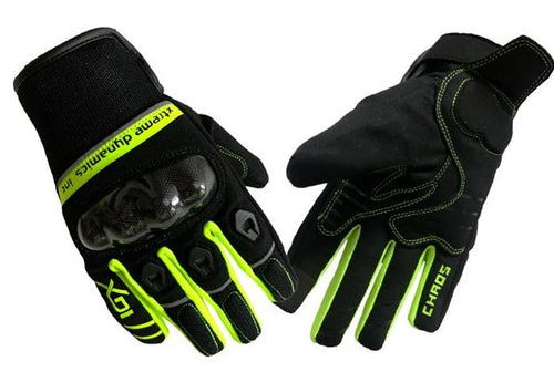 XDI CHAOS (Short Textile Glove with Kevlar) Fluorescent Green Glove - LRL Motors