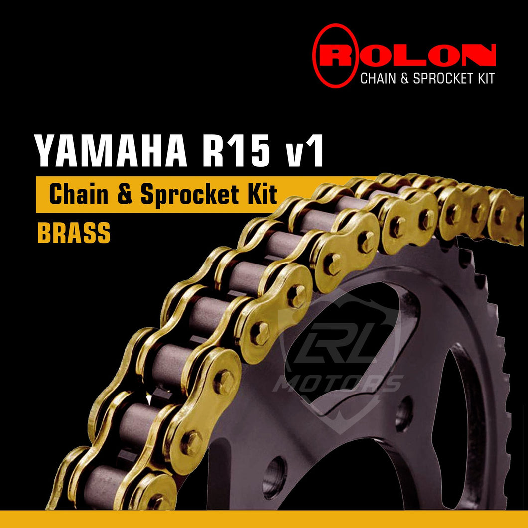 Yamaha R15 v1 Rolon Brass chain & Sprocket Kit - LRL Motors