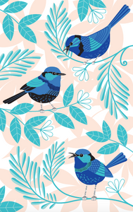 Tea Towel - Blue Wren