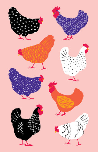 Tea Towel - Bright Hens