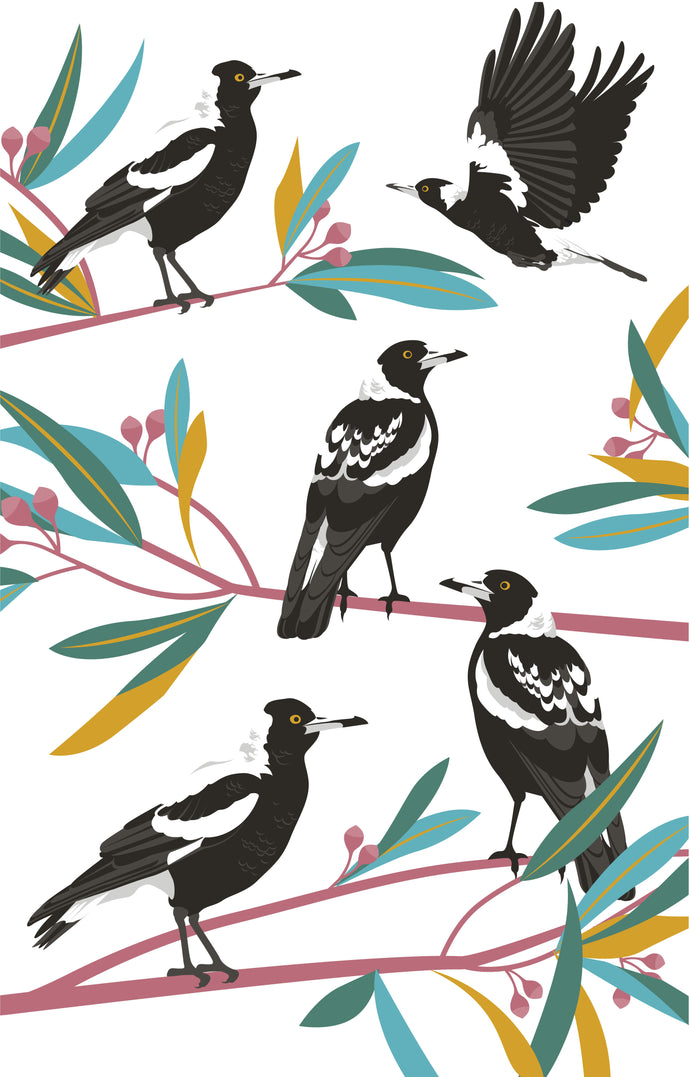 Tea Towel - Magpies
