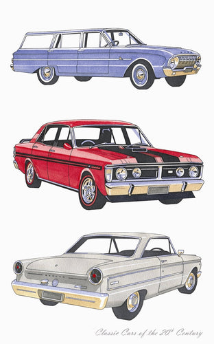 Tea Towel - Classic Cars Falcons - Allgifts Australia