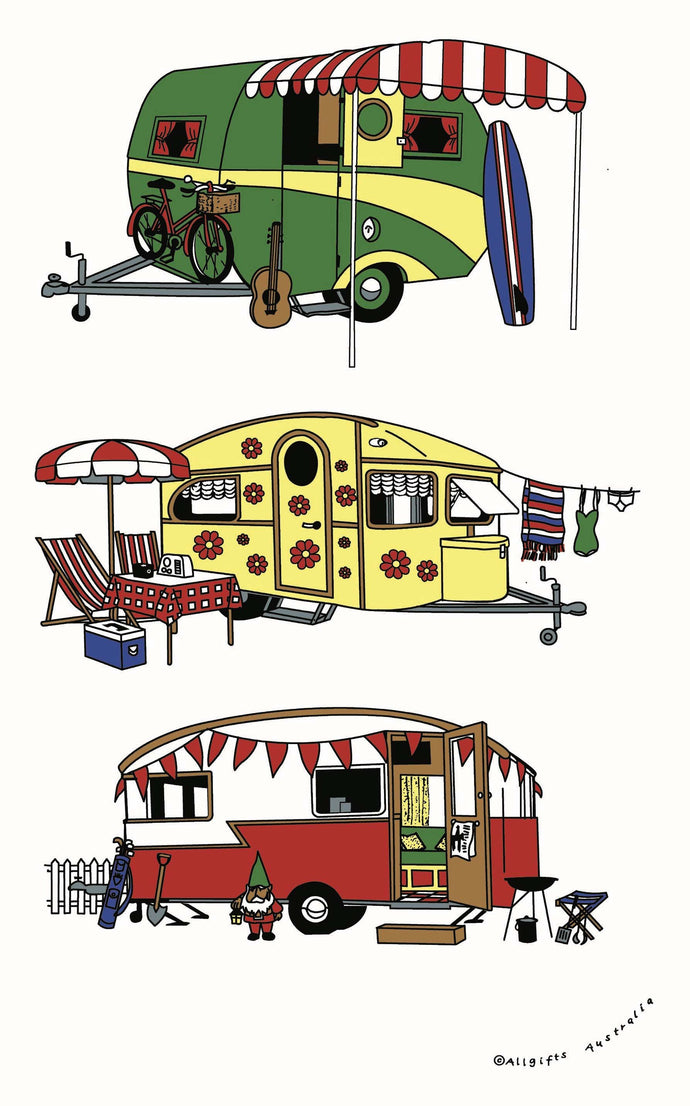 Tea Towel - Retro Caravan - Allgifts Australia
