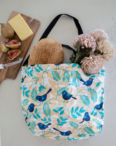 Cotton Tote Bag - Blue Wren