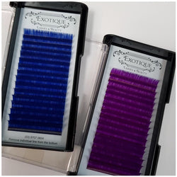 0.15 Faux Silk C Curl 16 row Lash Trays Mixed Blue or Purple 10mm - 13mm