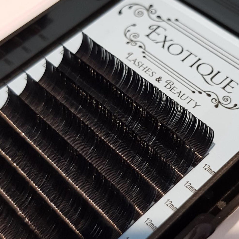 Exotique Classic 0.15s, 0.18 and 0.20 Single Length Lash Trays B, C and D Curls