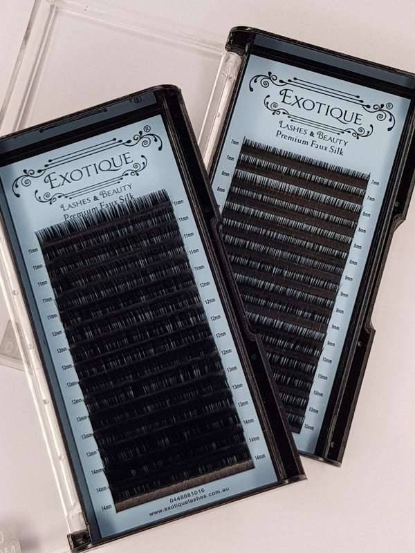 0.12 Faux Silk Mixed lash trays. Small Sizes & larger Size lash Trays. B, C & D Curls