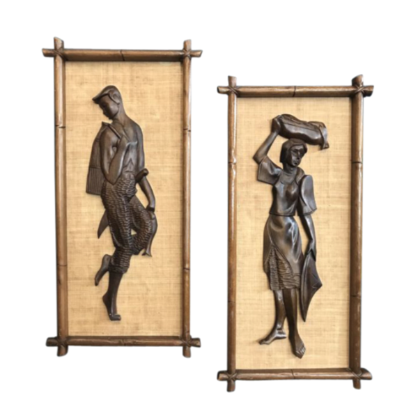 Retro Wooden/Cane Calypso Dancer Artwork