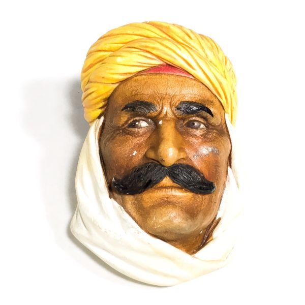 Vintage Chalkware Arabic Man Wall Mask
