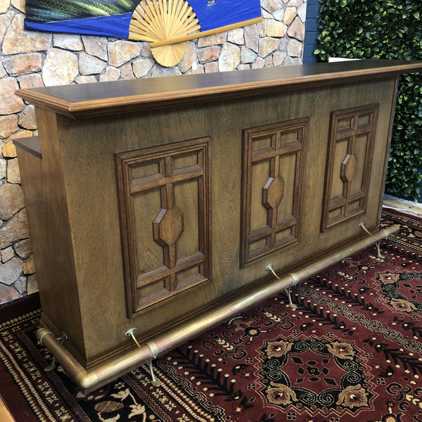 Vintage Art Deco Style Bar with Brass Foot Railing