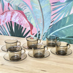 Set of 6 Arcoroc Smoked Glass Cups & Saucers